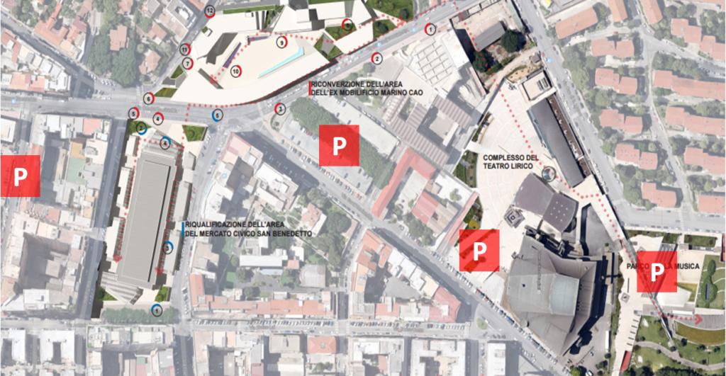 L'area intorno al mercato di San Benedetto con la dislocazione dei circa 1.000 parcheggi in struttura attualmente esistenti