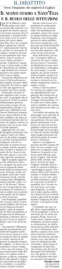 Il nuovo stadio Sant'Elia e il ruolo delle istituzioni - Interveto di Giorgio Asunis, ex segretario CGIL Sardegna