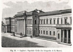 CAGLIARI Ospedale Civile San Giovanni di Dio. Sardegna. Stampa Antica. 1895